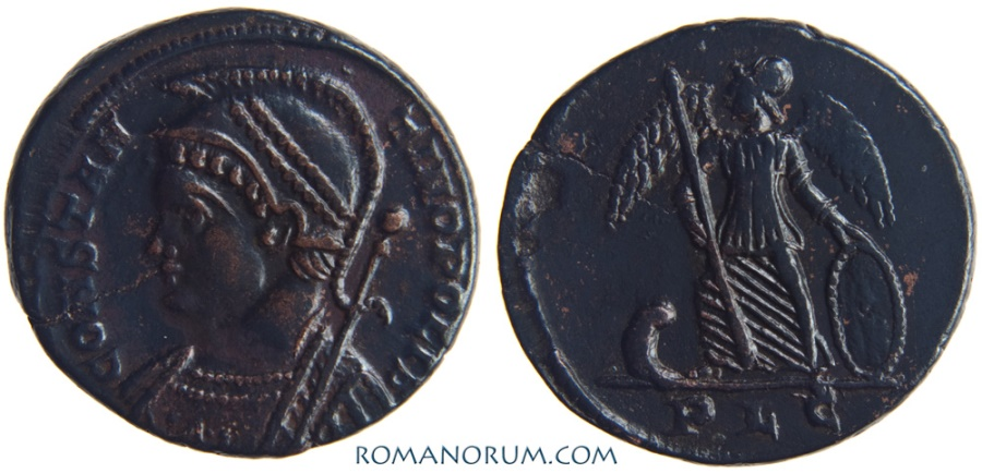 Ancient Coins - CONSTANTINE DYNASTY. AE 3, 2.79g.  Lugdunum. Black patina, metal highlights. Nice
