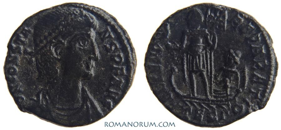 Ancient Coins - CONSTANS. (AD 337-350) AE3, 1.42g.  Thessalonica. FEL TEMP REPARATIO.