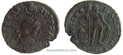Ancient Coins - ARCADIUS. (AD 383-408) AE2, 3.46g.  Heraclea. GLORIA ROMANORVM The Hand of God crowning Arcadius.