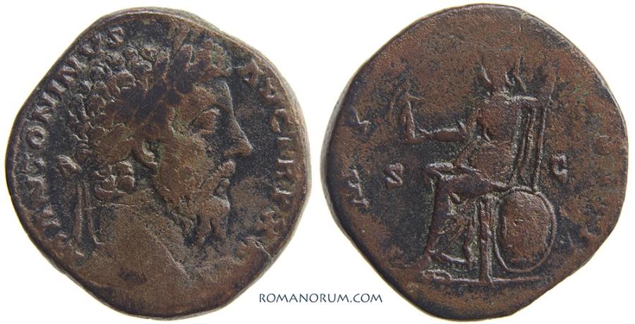 Ancient Coins - MARCUS AURELIUS. (AD 161-180) Sestertius, 24.46g.  Rome. Scarce