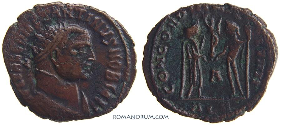 Ancient Coins - CONSTANTIUS I CHLORUS. (293-306 A.D.) Follis, 3.03g.  Alexandria.  Stylized Victory.