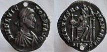 FLAVIUS VICTOR. 387-388 AD. AR Siliqua. $1000 + coin if it were not holed.