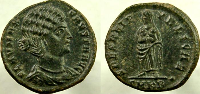 Ancient Coins - FAUSTA, 307-326 AD. Æ Follis. Salus holding two infants in arms.