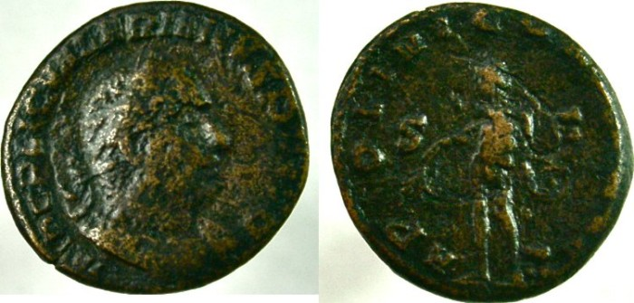 Ancient Coins - VALERIAN I. 253-260 AD. Æ As, Apollo holding laurel-branch and lyre