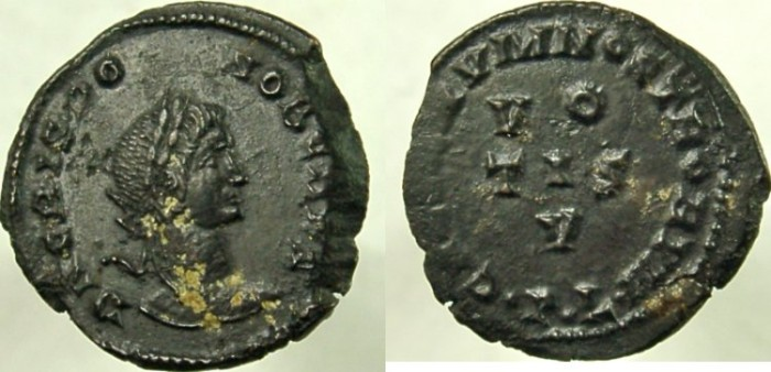 Ancient Coins - CRISPUS, spelled CRISPO, Caesar, 316-326 AD. Æ Follis, VOTIS V.  VERY RARE, rated R-4.