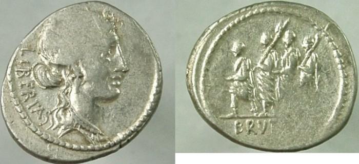 Ancient Coins - BRUTUS, 54 BC. AR Denarius.