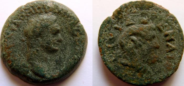 Ancient Coins - EGYPT, Alexandria. Domitian. 81-96 AD. Æ Diobol. Draped bust of Zeus Ammon.