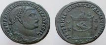 Ancient Coins - Galerius. Divus Galerius, Died 311 AD. Æ Follis.  Lighted altar decorated with an eagle.