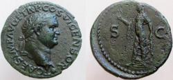 Ancient Coins - Titus. As Caesar, 69-79 AD. Æ As. Nice portrait style.