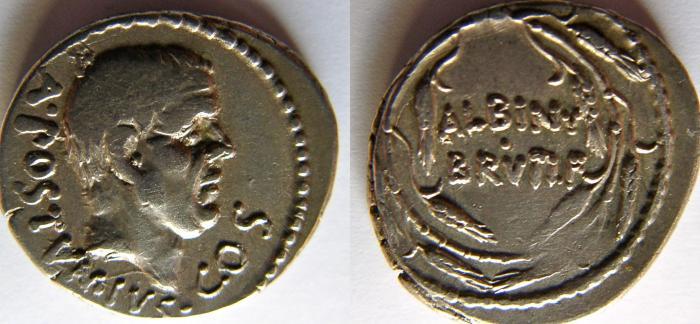 Ancient Coins - Albinus Bruti f. 48 BC. AR Denarius.