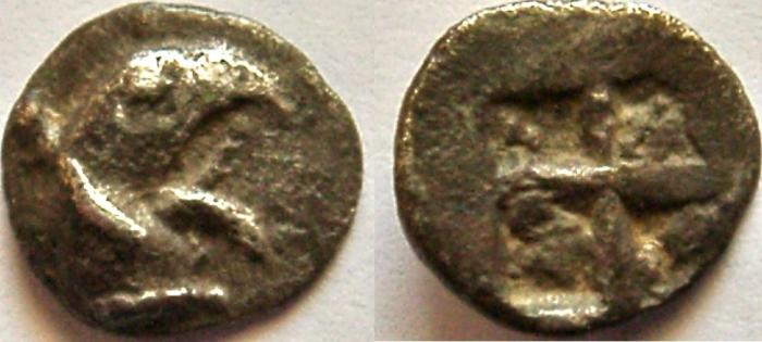 Ancient Coins - IONIA, Teos. Circa 521-478 BC. AR Tetartemorion (7mm, 0.23g). Head of griffin right.