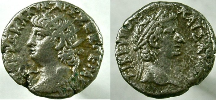 Ancient Coins - EGYPT, Alexandria. Nero, with Tiberius. 54-68 AD. BI Tetradrachm.