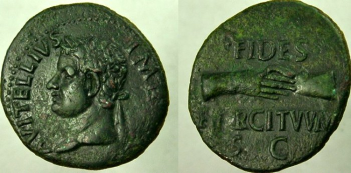 Ancient Coins - VITELLIUS, 69 AD. Æ As, Clasped hands.