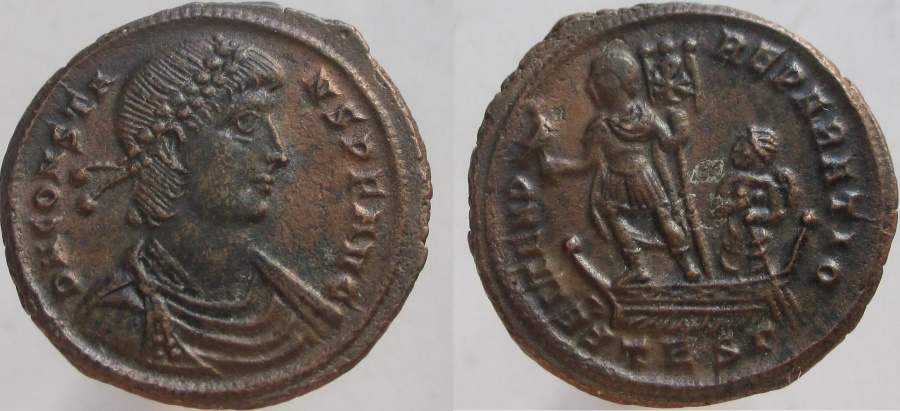 Ancient Coins - Constans. 337-350 AD. Æ-2. Emperor holding phoenix on globe, on galley steered by Victory.