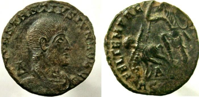 Ancient Coins - CONSTANTIUS GALLUS. Caesar, AD 351-354. Æ Centenionalis, Soldier spearing fallen horseman.