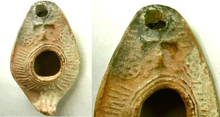 Ancient Coins - EARLY CHRISTIAN OIL LAMP WITH A CROSS.