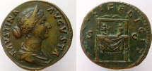 Ancient Coins - Faustina Junior. Augusta, 147-175 AD. Æ Sestertius. Choice smooth surfaces!
