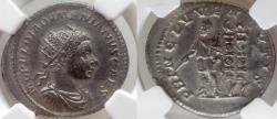 Ancient Coins - Diadumenian. As Caesar, 217-218 AD. AR Antoninianus. NGC AU 5/5