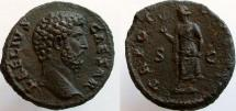Ancient Coins - Aelius. Caesar, 136-138 AD. Æ As. Spes holding flower and lifting skirt.