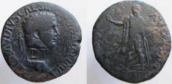 Ancient Coins - Claudius. 41-54 AD. Æ Sestertius; Balkan imitation. SPES AVGVSTA