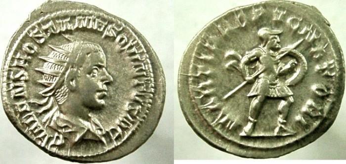 Ancient Coins - HOSTILIAN.  As Caesar, AD 250-251. AR Antoninianus, Mars holding shield and spear.
