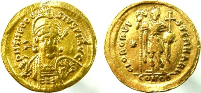 Ancient Coins - THEODOSIUS II, 408-450 AD. AV GOLD Solidus, Theodosius holding spear and shield with Pegasus.