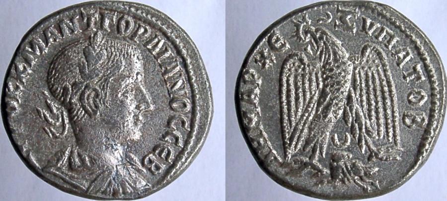 Ancient Coins - Gordian III. 238-244 AD. Tetradrachm. Eagle holding wreath in beak; ram below. Prieur 295.