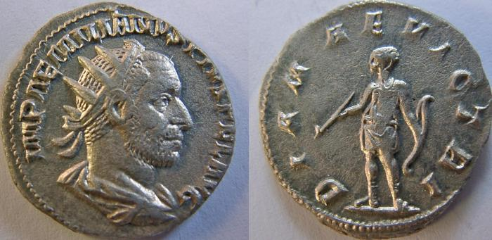 Ancient Coins - AEMILIAN. 253 AD. AR Antoninianus. DIANA VICTRI.