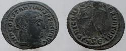 Ancient Coins - CONSTANTINE I. (the Great) Æ Follis. VERY RARE type with INV (Invictus) in the legend.