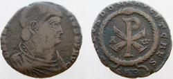 Ancient Coins - Magnentius. 350-353 AD. Æ Double Centenionalis. Large Christogram within wreath. RARE !