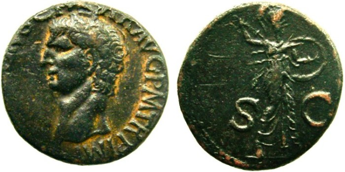 Ancient Coins - CLAUDIUS. 41-54 AD. Æ As, Minerva with spear and shield.