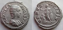 Ancient Coins - Plautilla. Augusta, 202-205 AD. AR Denarius. VENVS VICTRIX.