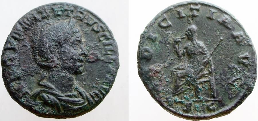 Ancient Coins - Herennia Etruscilla. Augusta; wife of Tajan Decius.  249-251 AD. Æ As. RARE !