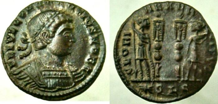 Ancient Coins - CONSTANTIUS II, as Caesar, Follis, LISTED IN RIC as R-5, Unique