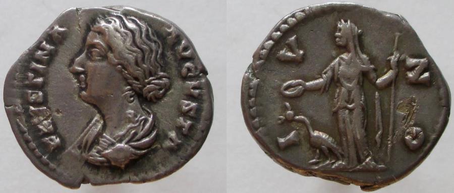 Ancient Coins - Faustina Junior. Augusta, 147-175 AD. AR Denarius.  RARE bust left !
