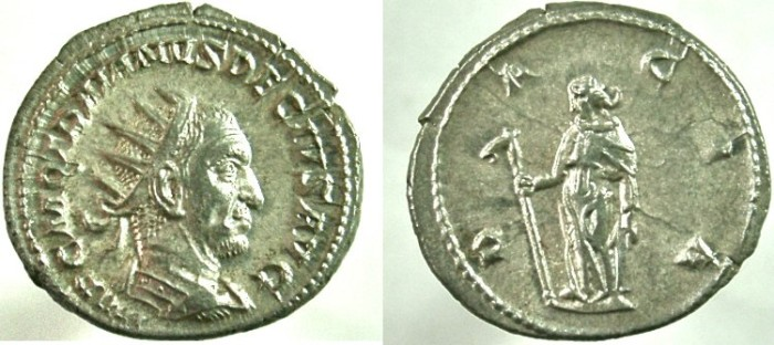 Ancient Coins - TRAJAN DECIUS. 249-251 AD. AR Antoninianus, Dacia holding staff with ass's head.