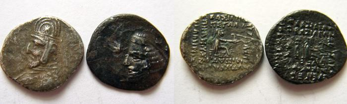 Ancient Coins - KINGS of PARTHIA. (lot of 2 coins). Mithradates III. &  Orodes II.   AR Drachms