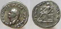 Ancient Coins - VESPASIAN. 69-79 AD. AR Denarius, ANNONA AVG. RARE.  Bust left.