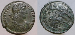 Ancient Coins - Constantius II. 337-361 AD. Æ-2. VF, toned silvering remains, now exhibiting brown/bronze toning.