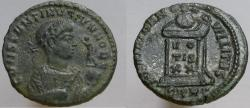 Ancient Coins - Constantine II. Æ Follis. VERY RARE variety with globe & victory right instead of left.