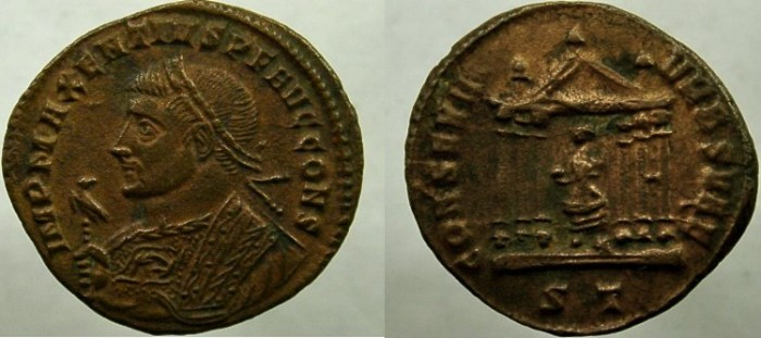 Ancient Coins - MAXENTIUS. 306-312 AD. Æ Follis, Bust left, wearing imperial mantle and holding eagle-tipped sceptre.
