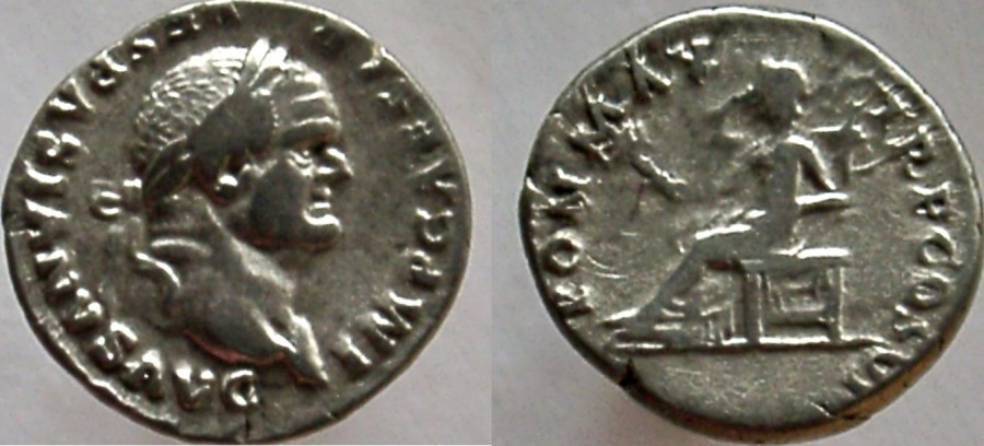 Ancient Coins - Vespasian. 69-79 D. AR Denarius. Pax seated left, holding branch.