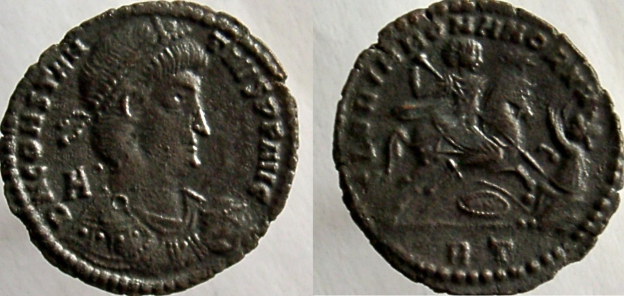 Ancient Coins - CONSTANTIUS II. 337-361 AD. Æ-2. Reverse of Magnentius & Nepotian; Scarce type.
