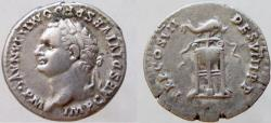 Ancient Coins - Domitian. 81-96 AD. AR Denarius. VERY RARE bust left. Third known example.