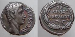 Ancient Coins - Augustus. 27 BC- 14 AD. AR Denarius. Legend in oak wreath. Old cabinet toning