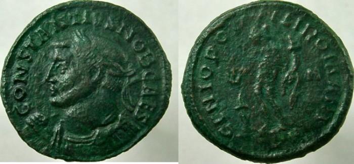 Ancient Coins - CONSTANTIUS I, AS Caesar. 301-303 AD. Æ Follis, GENIO POP-VLI ROMANI.