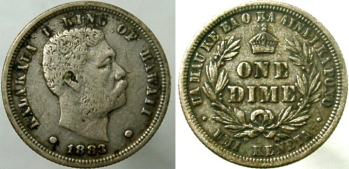 World Coins - Hawaiian dime. 1883. One of only five official coins for Hawaii.