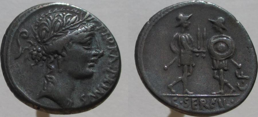 Ancient Coins - C. Servilius C.f. 57 BC. AR Denarius. Head of Flora right.