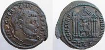 MAXENTIUS. 307-312 AD. Æ Follis, Roma seated in temple.