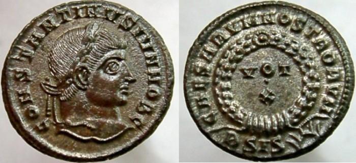 Ancient Coins - CONSTANTINE II, Caesar, 317-337 AD. Æ Follis, CAESARVM NOSTRORVM - VOT/X